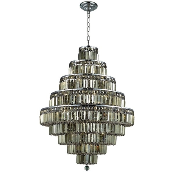 Maxime 20-Light 30 in. Chrome Chandelier (Available with Royal Cut Crystals or Swarovski® Elements Crystals)