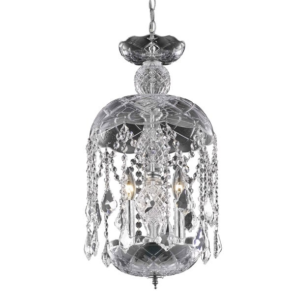 Rococo 3-Light 11 in. Pendant with Royal Cut Crystals (Available in Chrome, Gold, Golden Teak, Pink, White)