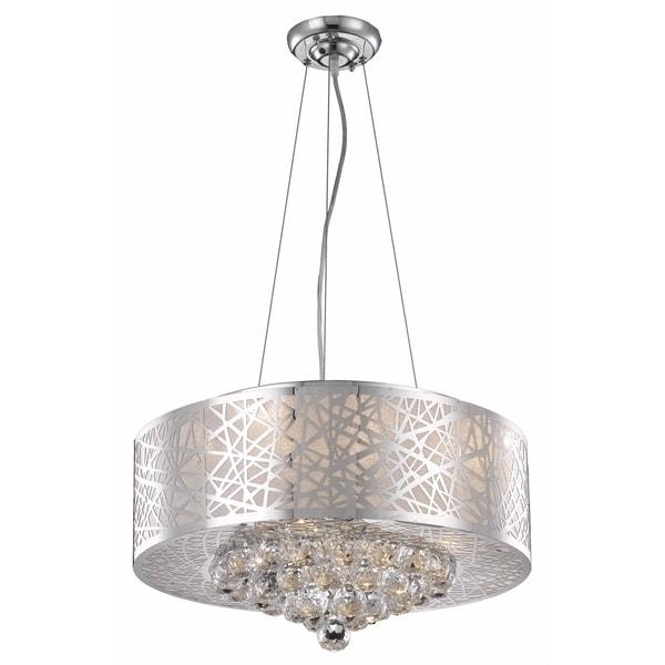 Elegant Lighting Prism Chrome Finish 7-light 20-inch Pendant with Royal-cut Crystals