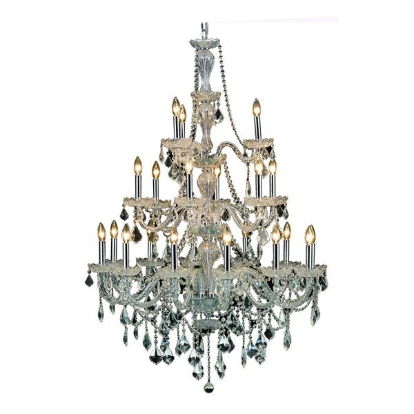 Elegant Lighting Giselle Steel with Royal Cut Crystals 21-light 38-inch Chandelier