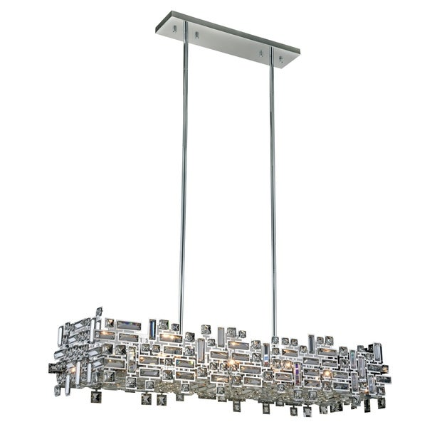 Elegant Lighting Picasso Chrome Steel with Royal Cut Crystals 8-light 44-inch Pendant