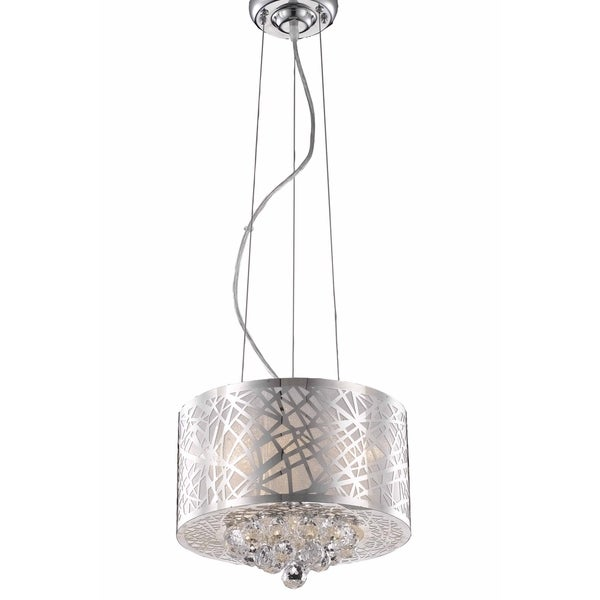 Elegant Lighting Prism Chrome with Royal Cut Crystals 3-light 12-inch Pendant