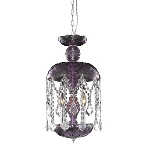 Rococo 3-Light 11 in. Pendant with Royal Cut Crystals (Available in Black and Purple)