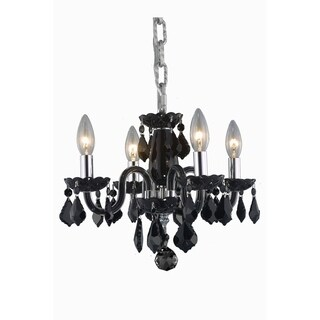 Rococo 4-Light 15 in. Pendant with Royal Cut Crystals (Available in Black, Golden Shadow, Golden Teak, Pink, Silver, and White)