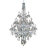 Verona 25-Light 43 in. Chandelier (Available in Chrome, Golden Teak, Silver Shade)