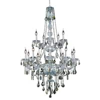 Verona 15-Light 33 in. Chandelier (Available in Chrome, Golden Teak, Silver Shade)