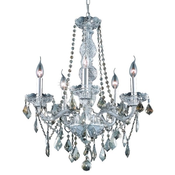 Verona 5-Light 21 in. Chandelier (Available in Chrome, Golden Teak, Silver Shade)