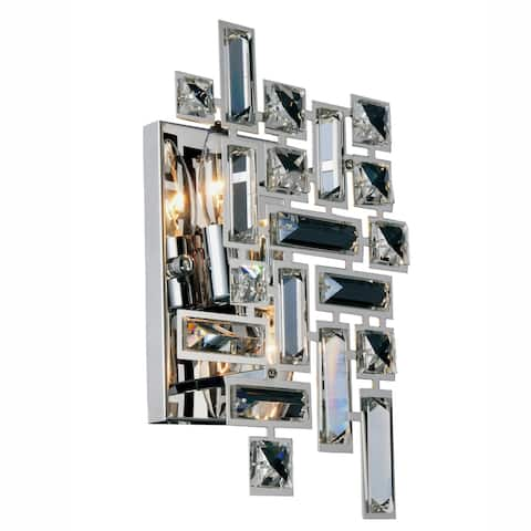 Picasso 2-Light 12 in. Chrome Wall Sconce with Royal Cut Crystals - chrome (royal cut crystals)