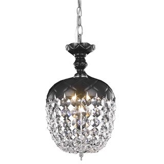 Rococo 1-Light 8 in. Pendant with Royal Cut Crystals (Available in Black, Chrome, Gold, Golden Teak, Purple, Pink, White) (More options available)