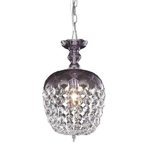 Rococo 1-Light 8 in. Pendant with Royal Cut Crystals (Available in Black, Chrome, Gold, Golden Teak, Purple, Pink, White)
