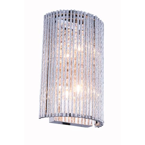 Influx 2-Light 7 in. Chrome Wall Sconce with Royal Cut Crystals - chrome (royal cut crystals)