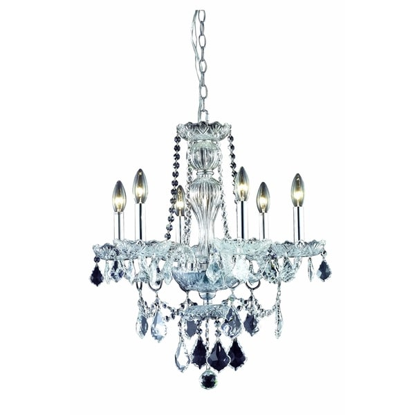 Elegant Lighting Giselle 6-Light 21-Inch Chandelier With Royal Cut Crystals