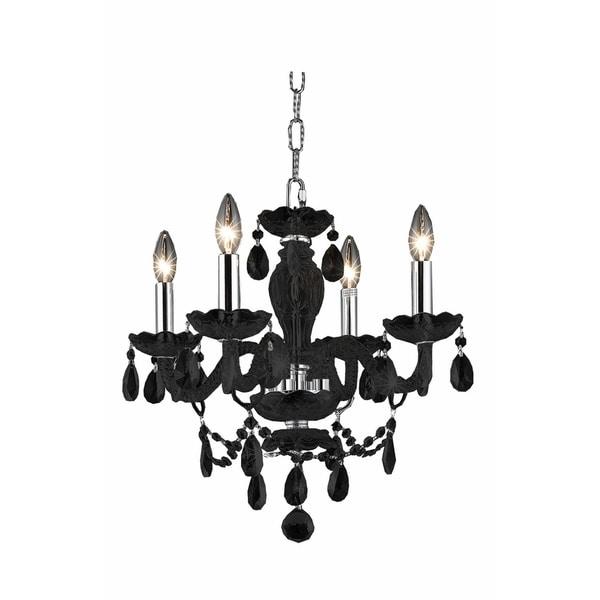 Elegant Lighting Princeton Glass/Steel 17-inch, 4-light Pendant With Royal Cut Crystals
