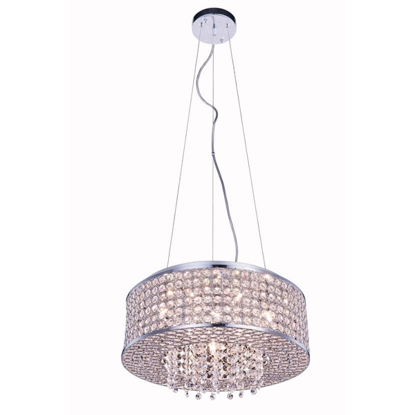 Amelie 6-Light 16 in. Chrome Pendant with Royal Cut Crystals