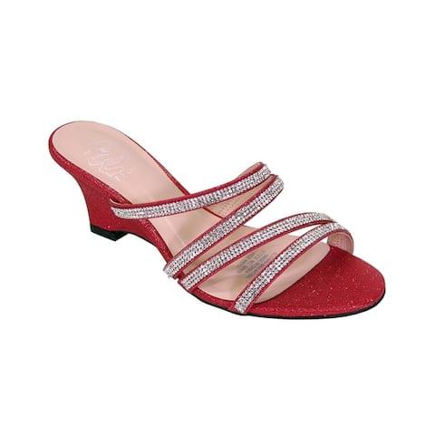 FLORAL Kelly Women Extra Wide Width Rhinestone Slip-On Wedge Sandals