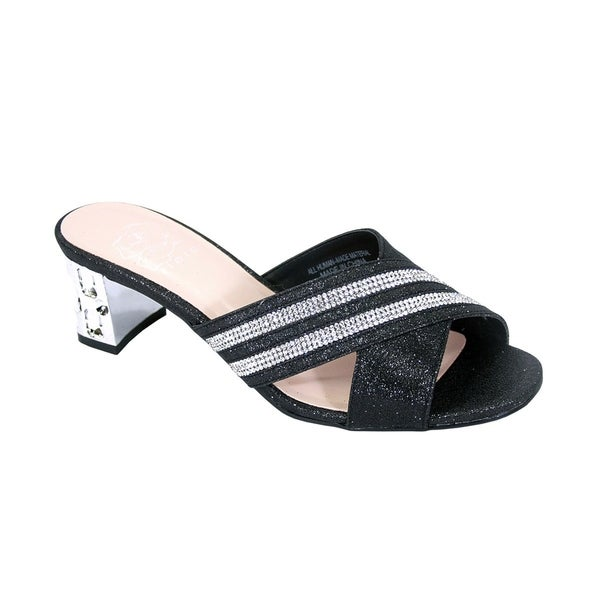 07c431323669df Shop FLORAL Denise Women Wide Width Rhinestone Ornate Block Heel ...