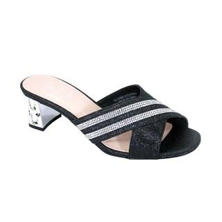 FLORAL Denise Women Wide Width Rhinestone Ornate Block Heel Sandals
