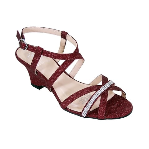 FLORAL Joanne Women Extra Wide Width Rhinestone Straps Wedge Sandals