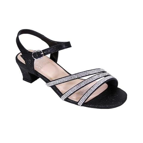 83a4f13a20 FLORAL Jenna Women Extra Wide Width Glittery Rhinestone Straps Sandals