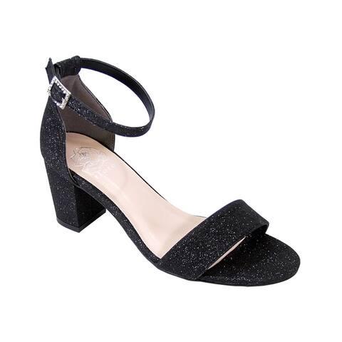 FLORAL Adele Women Wide Width Satin Glittery Block Heel Party Sandals