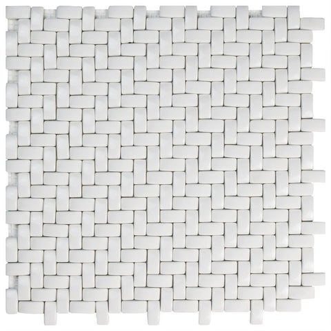 SomerTile 12.25x12.25-inch Expresiones Weave White Glass Mosaic Floor and Wall Tile (10 tiles/10.4 sqft.)