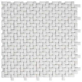 SomerTile 12.25x12.25-inch Expresiones Weave White Glass Mosaic Floor and Wall Tile (10/Case, 10.63 sqft.)