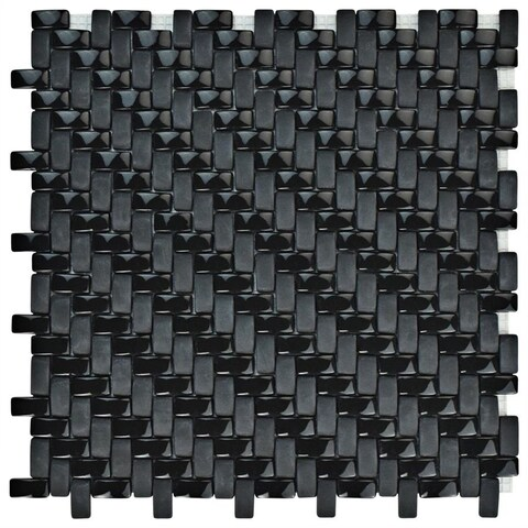 SomerTile 12.25x12.25-inch Expresiones Weave Black Glass Mosaic Floor and Wall Tile (10 tiles/10.4 sqft.)