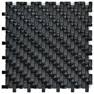 SomerTile 12.25x12.25-inch Expresiones Weave Black Glass Mosaic Floor and Wall Tile (10/Case, 10.63 sqft.)