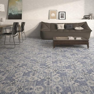 SomerTile 9.625x9.625-inch Clinker Retro Azul Mix Quarry Floor and Wall Tile (16/Case, 10.84 sqft.)