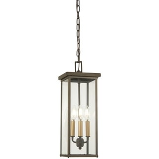 Casway 4-Light Oil Rubbed Bronze W/ Gold High Chain Hung Lantern