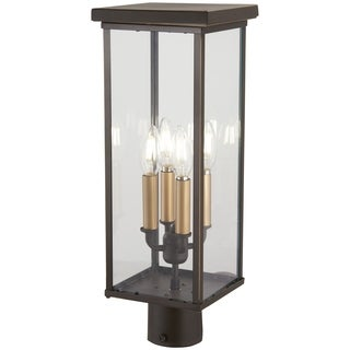 Casway 4-Light Oil Rubbed Bronze W/ Gold High Post Mount