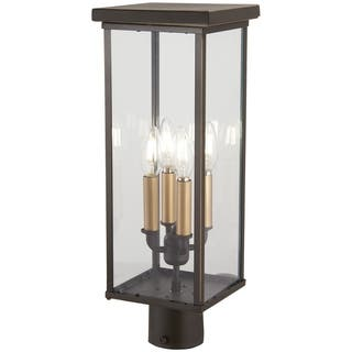 The great outdoors outdoor lighting for less overstock casway 4 light oil rubbed bronze w gold high post mount aloadofball Choice Image
