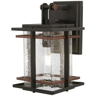 San Marcos 1-Light Black W/Antique Copper Accents Post Mount