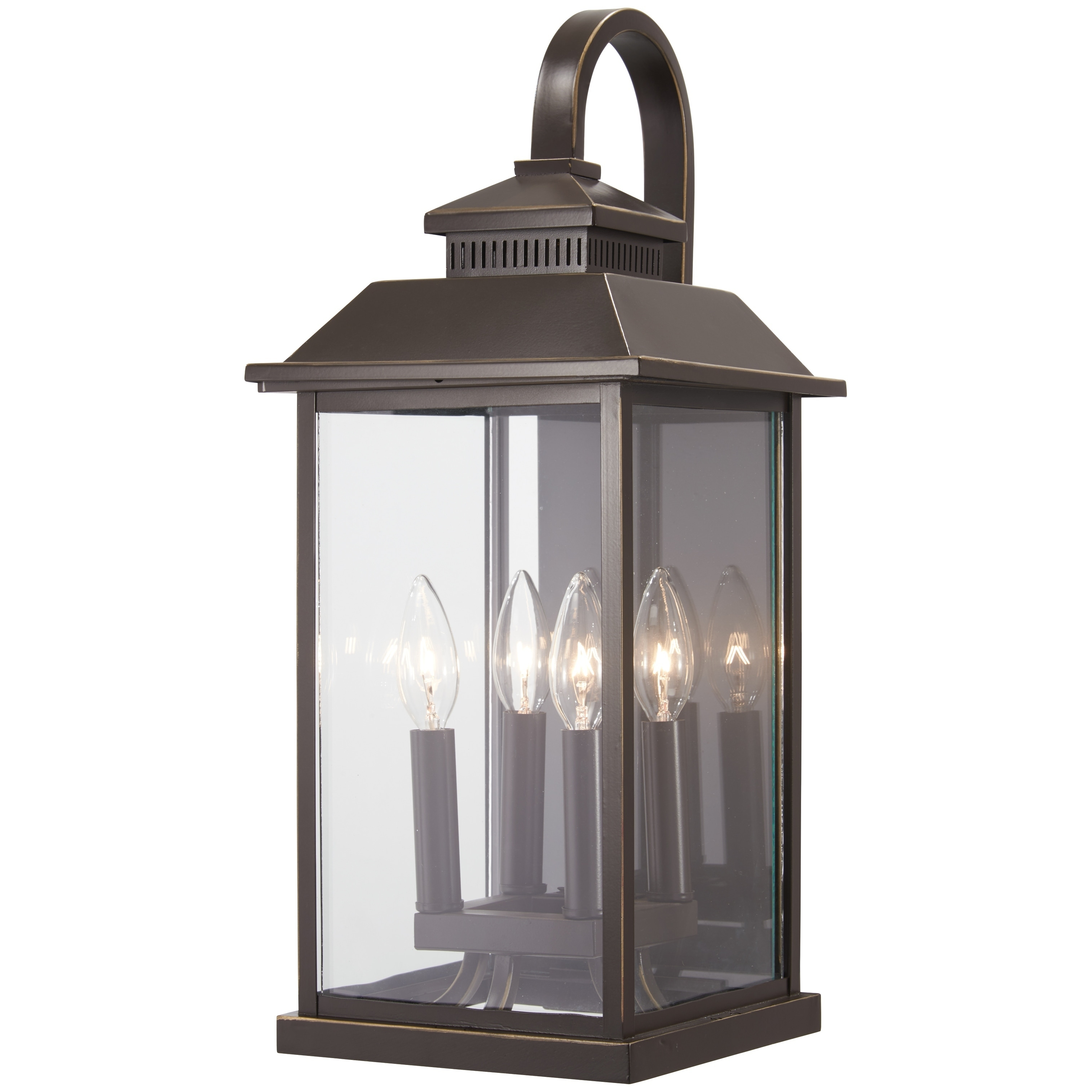 Shop Black Friday Deals On Miner S Loft Oil Rubbed Bronze W Gold High 4 Light Outdoor Wall Mount By Minka Overstock 20005206