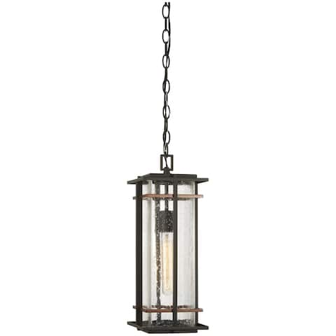 San Marcos Black W/Antique Copper Accents Outdoor Chain Hung Lantern by Minka Lavery