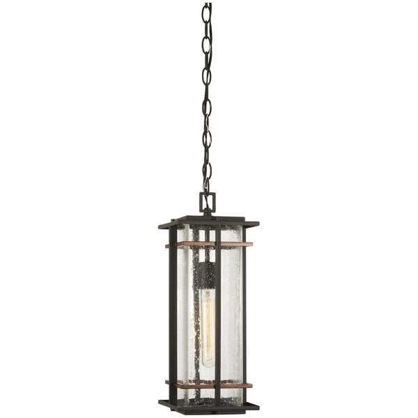 San Marcos Black W/Antique Copper Accents Outdoor Chain Hung Lantern by Minka Lavery. Opens flyout.