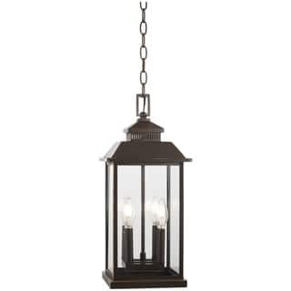 The great outdoors outdoor lighting for less overstock miners loft 4 light oil rubbed bronze high chain hung lantern aloadofball Choice Image