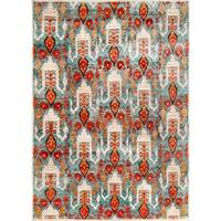 Safavieh Couture Hand-Knotted Luxor Eclectic Aqua / Orange Rayon Rug - 9' x 12'