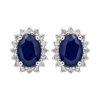 Viducci 10k White Gold Genuine Oval Sapphire and 1/4ct Diamond Halo Earrings