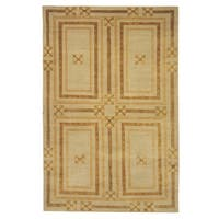 Safavieh Couture Hand-Knotted Contemporary Gold / Creme Wool & Silk Rug - 8' x 10'