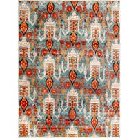 Safavieh Couture Hand-Knotted Luxor Eclectic Aqua / Orange Rayon Rug - 8' x 10'