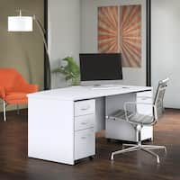 Bush Business Studio C 72W Bow Front Desk with Mobile File Cabinets