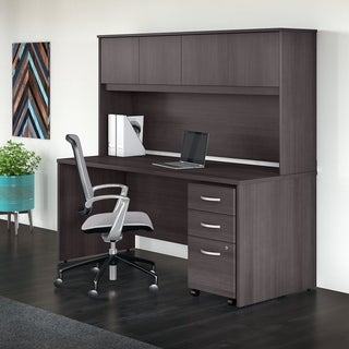Studio C 72W Office Desk, Hutch & Mobile File Cabinet, Storm Gray