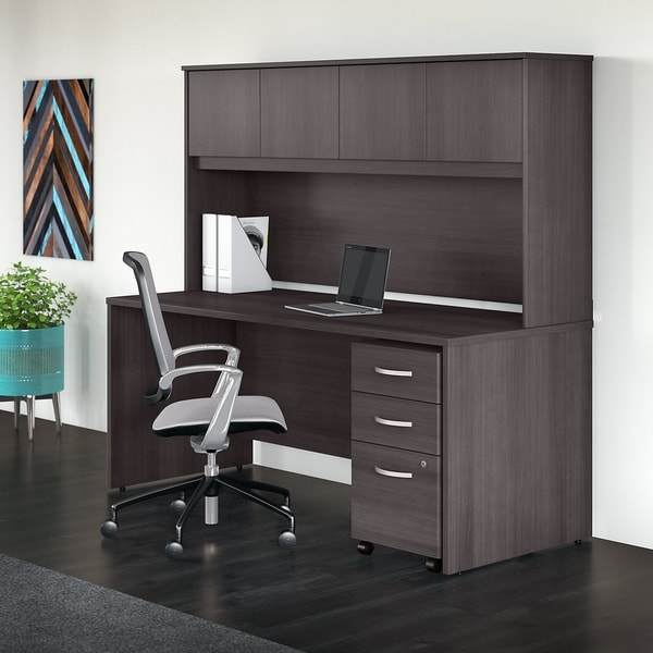 Studio C 72W Office Desk With Hutch And Mobile File Cabinet In Gray