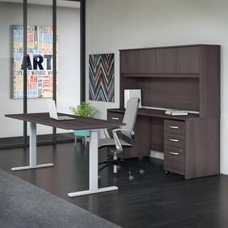 Studio C 72W Adjustable Desk, Credenza, Hutch & Mobile Files, Gray