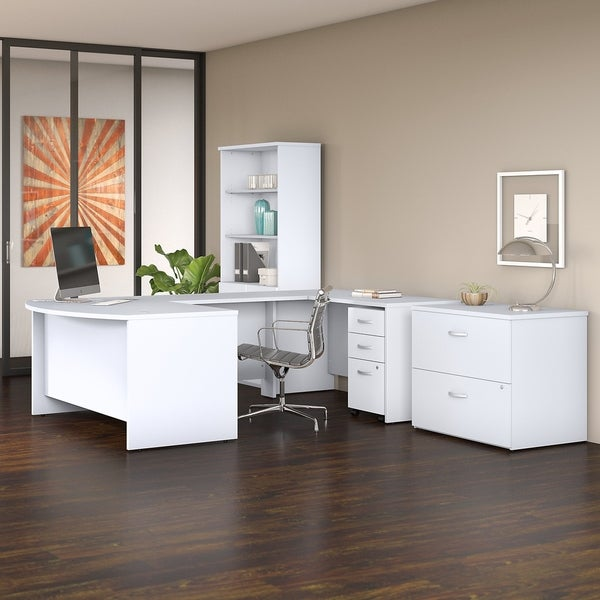 Studio C 60W x 36D U Shaped Desk with Bookcase and File Cabinets