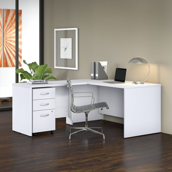 Studio C 60W L Shaped Desk with Mobile File Cabinet and 42W Return