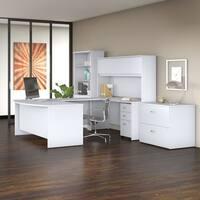 Bush Business Studio C 72W x 36D U Shaped Desk Office Suite in White