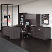 Studio C 72W x 36D U Shaped Desk 4 Piece Office Suite in Storm Gray
