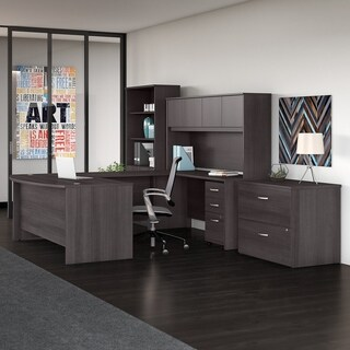 Studio C 72W x 36D U Shaped Desk 4 Piece Office Suite in Storm Gray